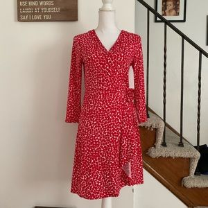 BCBGmaxazria wrap dress red and white